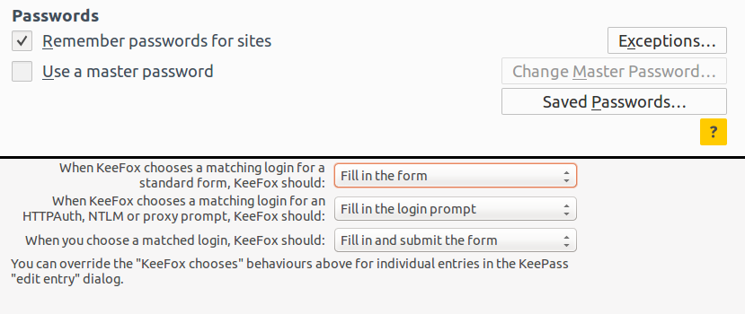 The options I have set in Firefox and KeeFox