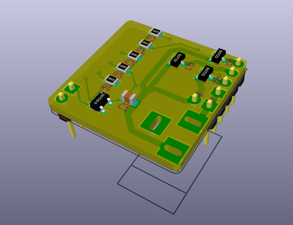 A 3D-rendered PCB with stuff on it.